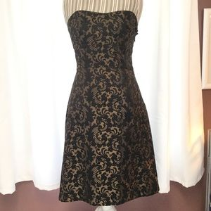 Loft Black and gold strapless brocade dress sz 6